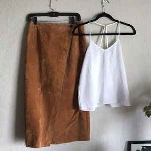 LORD & TAYLOR •  Leather wrap maxi skirt